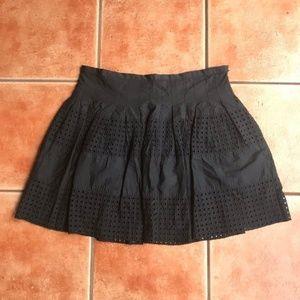 Gap Black Eyelet Full Short Skirt Lined Sz 8